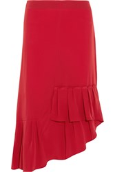 Tibi Asymmetric Pleated Silk Midi Skirt Red