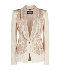 Just Cavalli Crystal Embellished Tuxedo Jacket Beige
