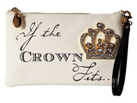 My Flat In London Crowns Zip Pouch Natural Black Wristlet Handbags Beige