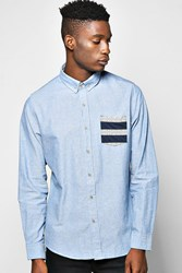 Boohoo Oxford Shirt With Aztec Pocket Blue