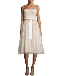 Aidan Mattox Strapless Fit And Flare Cocktail Dress Champagne