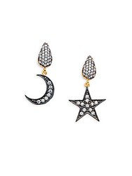 Azaara Crystal And Sterling Silver Moon And Star Drop Earrings Gold
