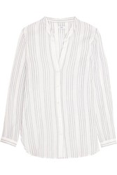 Vince Striped Cotton Gauze Shirt Off White