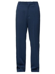 Balenciaga Logo Embroidered Tailored Trousers Navy
