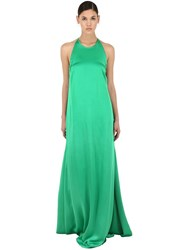 Rochas Long Envers Satin Dress Green