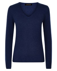 Jaeger Cashmere Double Trim Sweater Blue
