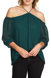1.State Women's Off The Shoulder Sheer Chiffon Blouse Jasper Green