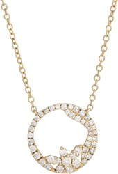 Zoe Diamond And Gold Open Circle Pendant Necklace Colorless