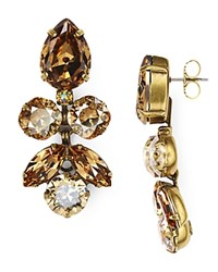 Sorrelli Lotus Bloom Swarovski Crystal Drop Earrings Gold