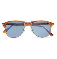 Persol Aviator Style Acetate And Silver Tone Sunglasses Brown