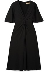 Michael Kors Collection Twist Front Stretch Crepe Midi Dress Black