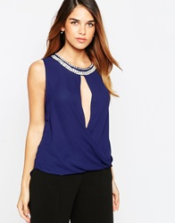 Tfnc Wrap Front Top With Necklace Navy