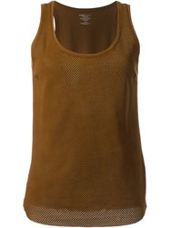 Majestic Filatures Leather Front Tank Top Brown