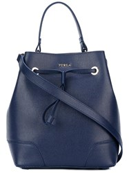 Furla Drawstring Bucket Tote Blue