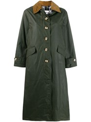 Barbour Check Lined Single Breasted Coat Green