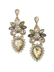 Belle By Badgley Mischka Fairytale Floral Stone Earrings Gold