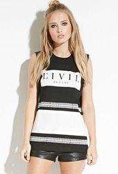 Forever 21 Civil Baseball Muscle Tee Black White