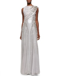 Jenny Packham Sequined Draped Tulle Gown Lilac