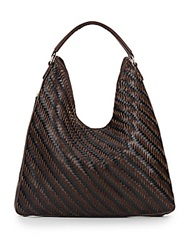 Sondra Roberts Woven Hobo Bag Brown Black
