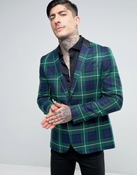 Religion Skinny Suit Jacket In Check Green