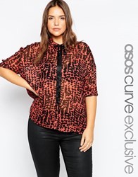 Asos Curve Skinny Tie Blouse In Animal Print Multi
