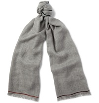 Loro Piana Four In Hand Cashmere Scarf Gray
