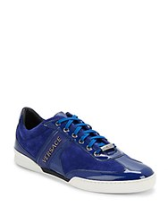 Versace Patent Leather Sneakers Blue