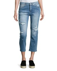 Cheap Monday Level Distressed Cropped Jeans Blue