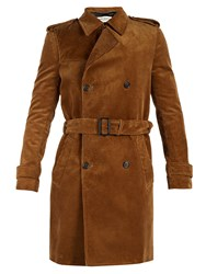 Saint Laurent Double Breasted Corduroy Trench Coat Brown