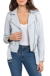 'S Bagatelle. Nyc Washed Leather Biker Jacket Misty Blue