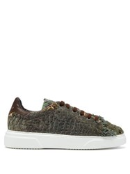 By Walid 19Th Century Panelled Low Top Trainers Green Multi