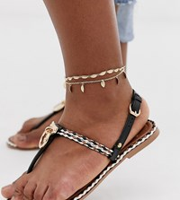 Asos Design Curve Pack Of 2 Anklets With Feather Pendants In Gold Tone Gold