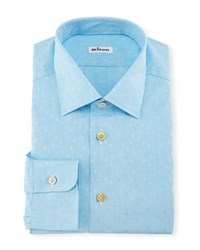 Kiton Diamond Dobby Dress Shirt Aqua Blue