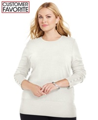Jm Collection Plus Size Crew Neck Sweater Eggshell