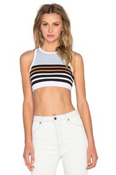 Alexander Wang Stretch Cotton Engineer Stripe Sports Bra Blue