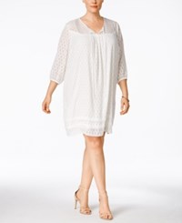 Ny Collection Plus Size Lace Yoke Peasant Dress White