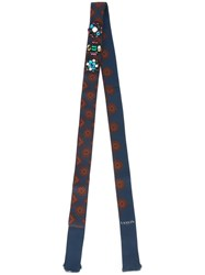 Lanvin Thin Embellished Pattern Scarf Blue