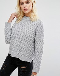 Goldie Committed Oversized Knitted Jumper Grey