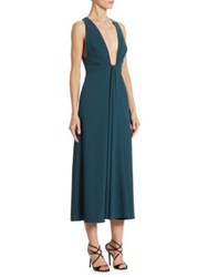 Monique Lhuillier Plunging V Neck Cocktail Dress Deep Teal