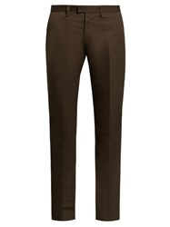 Acne Studios Max Satin Slim Leg Stretch Cotton Trousers Khaki