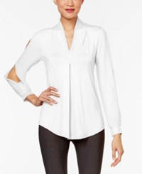 Cable And Gauge Cold Sleeve Knit Blouse Bright White