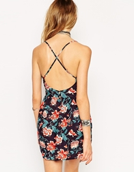 Asos Reclaimed Vintage Playsuit With Cross Back In Navy Floral Print Floralprint
