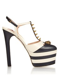 Gucci Angel Spike Embellished Leather Platform Sandals Navy White
