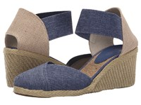 Lauren Ralph Lauren Charla Blue Denim Elastic Women's Wedge Shoes