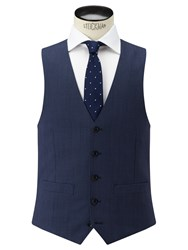 John Lewis Super 100S Wool Birdseye Tailored Waistcoat Airforce