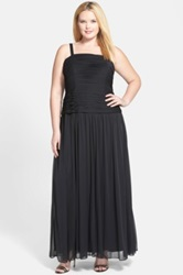 Adrianna Papell Pleat Bodice Tulle Gown And Shrug Plus Size Black