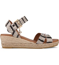 Kurt Geiger Libby Wedge Sandals Blk Beige