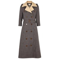 Khaite Charlotte Double Breasted Wool Trench Coat Olive