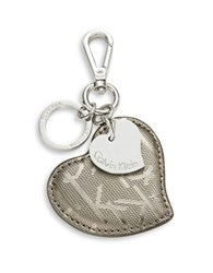 Calvin Klein Leather Heart Keychain Gunmetal