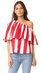 Edit One Shoulder Ruffle Top Red And White